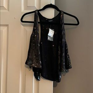 Bebe Sequin Crop Vest